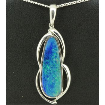 Irregular shaped doublet opal pendant set in sterling silver