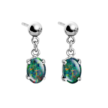 Sterling silver triplet opal hanging earrings(8x6)