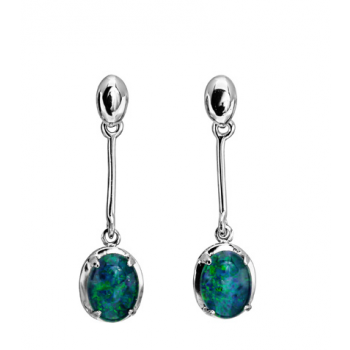 Sterling Silver Drop Claw Set Triplet Opal Earrings (8x6)