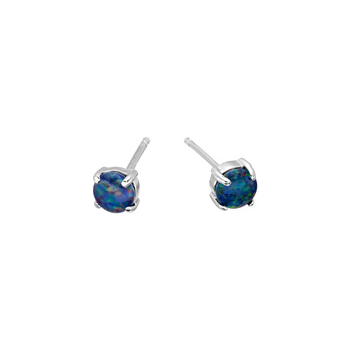 Sterling Silver Round Triplet Opal Stud Earrings 4mm