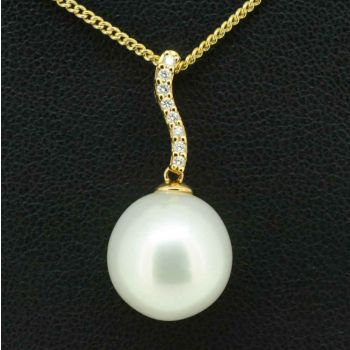 18CT Yellow Gold White South Sea Pearl Pendant