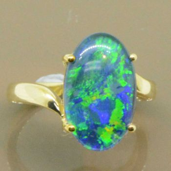 9ct Yellow Gold Triplet Opal Wrap Around Ring