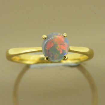 18ct Yellow Gold Solid Black Opal Ring  (6x6)