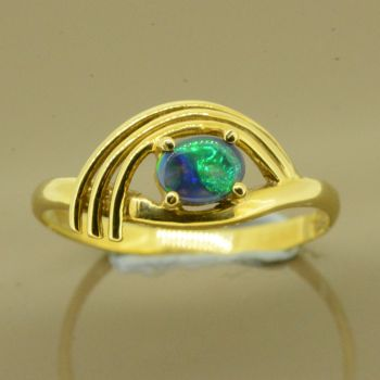 18ct Yellow Gold Solid Black Opal Ring (4x5)