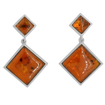 Silver Square Amber Earrings