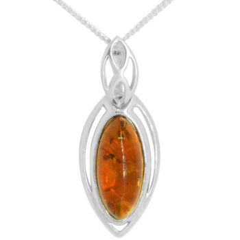 Sterling Silver Marquise Cut Amber Pendant