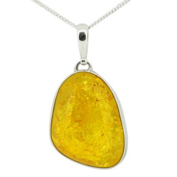 Sterling Silver Freeform Amber Pendant