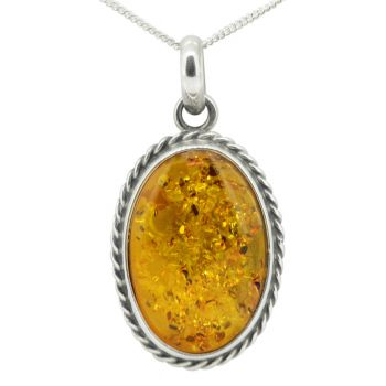 Sterling Silver Antiqued Amber Pendant