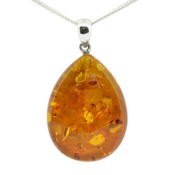 Sterling Silver Drop Amber Pendant
