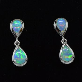 14ct White Gold Solid Opal Drop Earrings