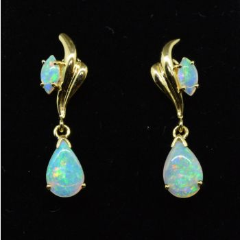 Drop Opal Earrings set in 14ct Yellow gold