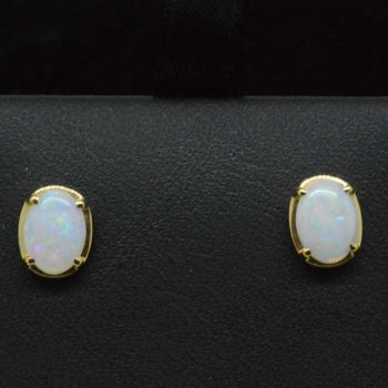 Solid opal 14ct yellow gold set earrings 7x5
