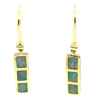 14ct yellow gold inlaid hanging opal earrings
