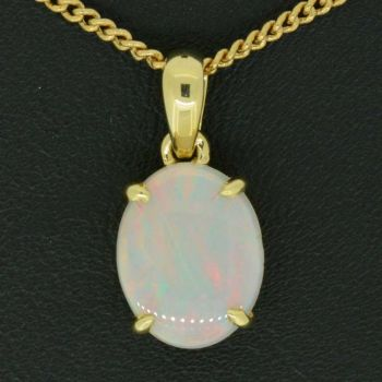 14ct yellow gold claw set opal pendant