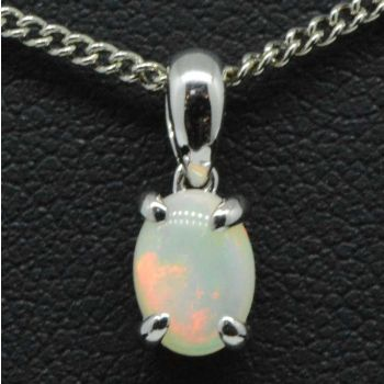 9ct white gold solid opal pendant (7mmx5mm)