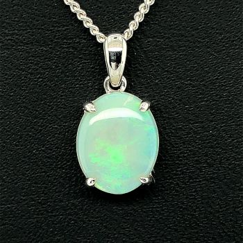 14ct white gold solid opal pendant (11x9)