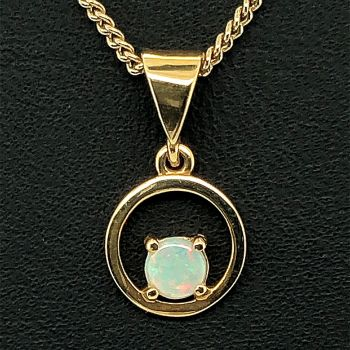 4mm round solid opal 18ct yellow gold pendant
