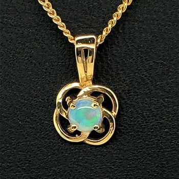 18ct round solid opal pendant (4mm)