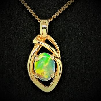 18ct gold solid opal pendant (7mmx5)