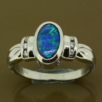 18ct white gold solid black opal ring