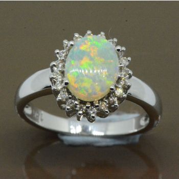 Diamond cluster opal ring set in 18ct white gold