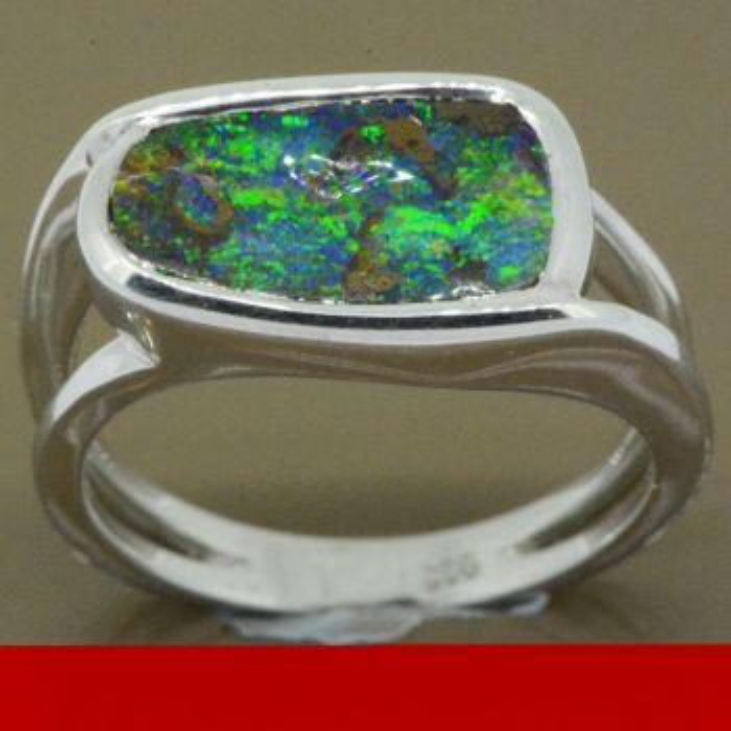 sterling silver boulder opal ring (14x8)