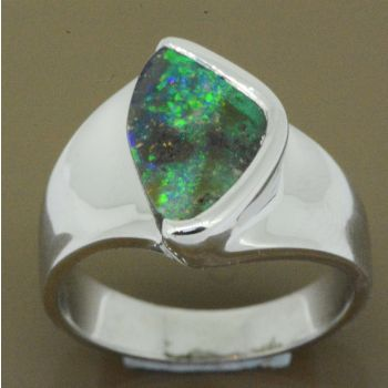 sterling silver boulder opal ring (14x9)