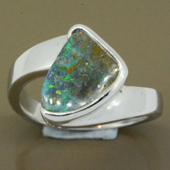sterling silver boulder opal ring (13x10)