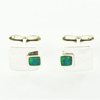 Rectangular Shaped Sterling Silver Inlaid Opal Cufflinks