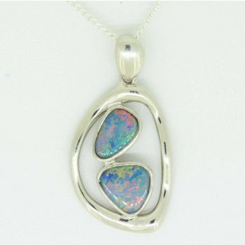 Sterling silver doublet opal with 2 free shaped opals