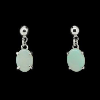 Sterling Silver Solid Crystal Opal Earrings