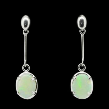 Sterling Silver Solid Crystal Opal Drop Setting Earrings