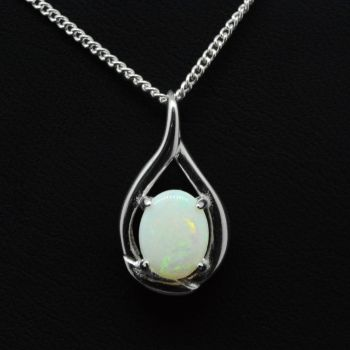 Solid Opal 9mm X 7mm, Pendant Set In Sterling Silver