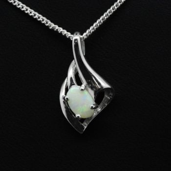 Solid Opal Pendant Set In Sterling Silver