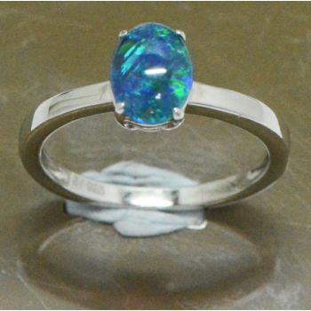 Ladies Sterling Silver Triplet Opal Claw Set Ring
