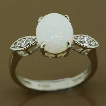 Sterling silver solid opal ring 10mmx8mm
