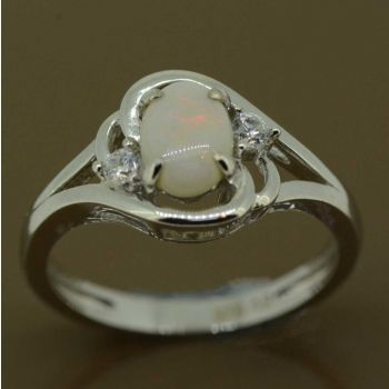 7mm x 5mm sterling silver solid opal ring