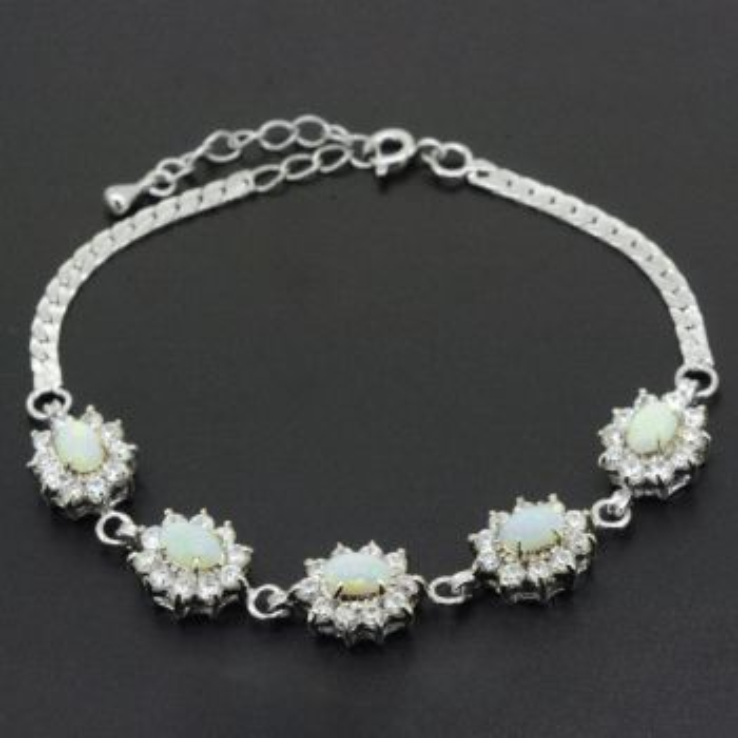 Sterling Silver Solid Opal Bracelet set with Crystals