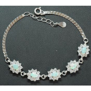 Sterling Silver Solid Opal Bracelet, Set With 5 Opals surrounded by Crystals