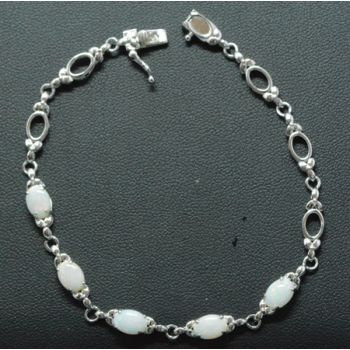 Claw Set Sterling Silver Solid Opal Bracelet with 5 Opals
