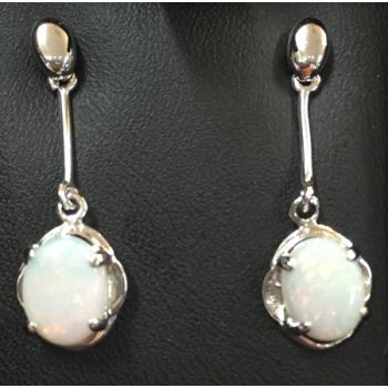 Hanging Sterling Silver Solid Opal Earrings