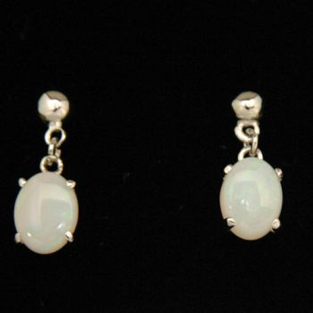 Drop Sterling Silver Solid Opal Earrings