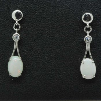 Ladies sterling silver solid opal earrings