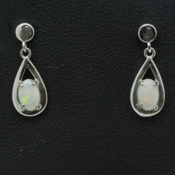 Sterling silver ladies drop solid opal earrings
