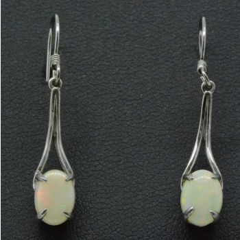 Sterling silver solid opal earrings with shepherd hooks