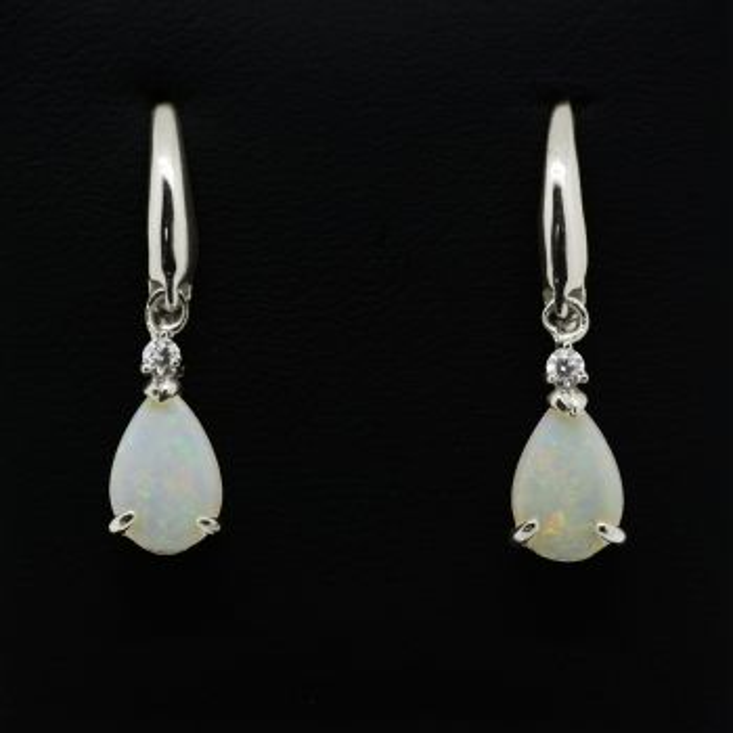 Sterling silver solid opal drop earrings