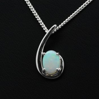 STERLING SILVER SOLID OPAL CLAW SET PENDANT