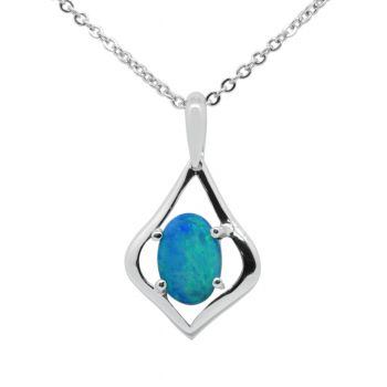 Sterling Silver Solid Black Opal  Pendant