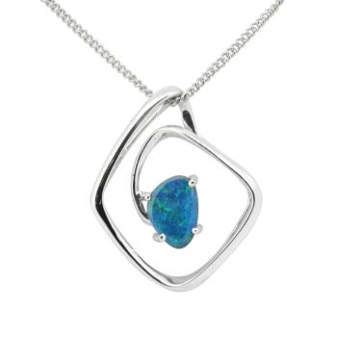 Sterling Silver Swirl Setting Black Opal Pendant