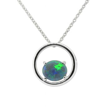 Sterling Silver Wired Frame Setting with Solid Black Opal Pendant